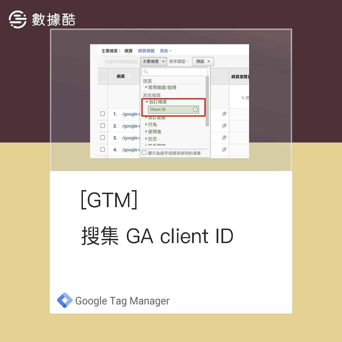 Google Tag Manager 使用 Google Analytics 自訂維度儲存網站 client id