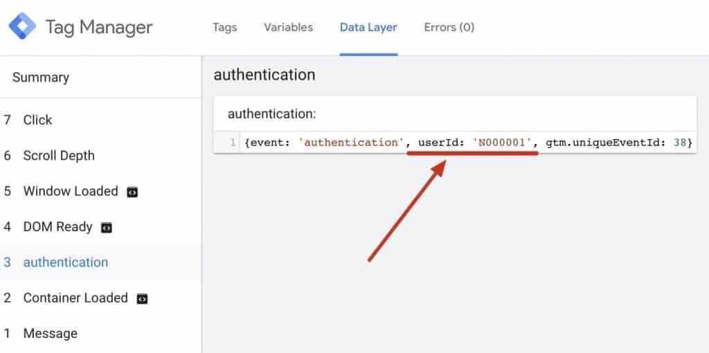 Step 1: 確認網站已從認證系統取得 user id 並發送到 dataLayer。