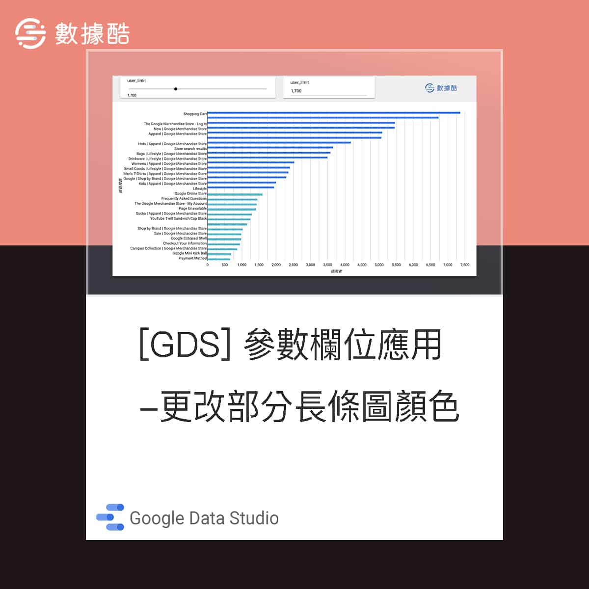 Data Studio 使用參數欄位更改部分長條圖顏色