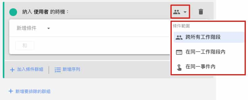 Google Analytics 4 目標對象條件範圍