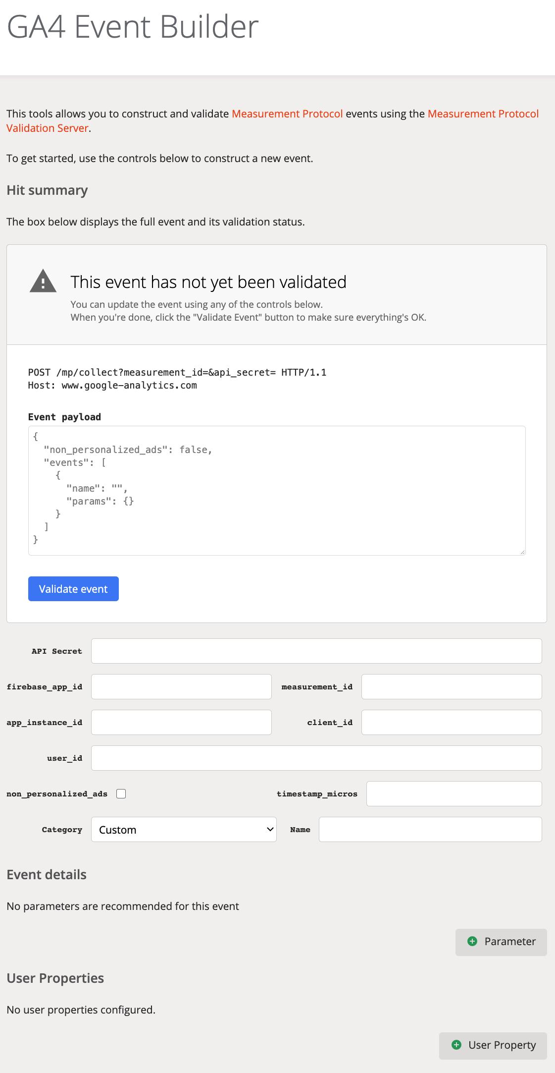 GA4 event builder