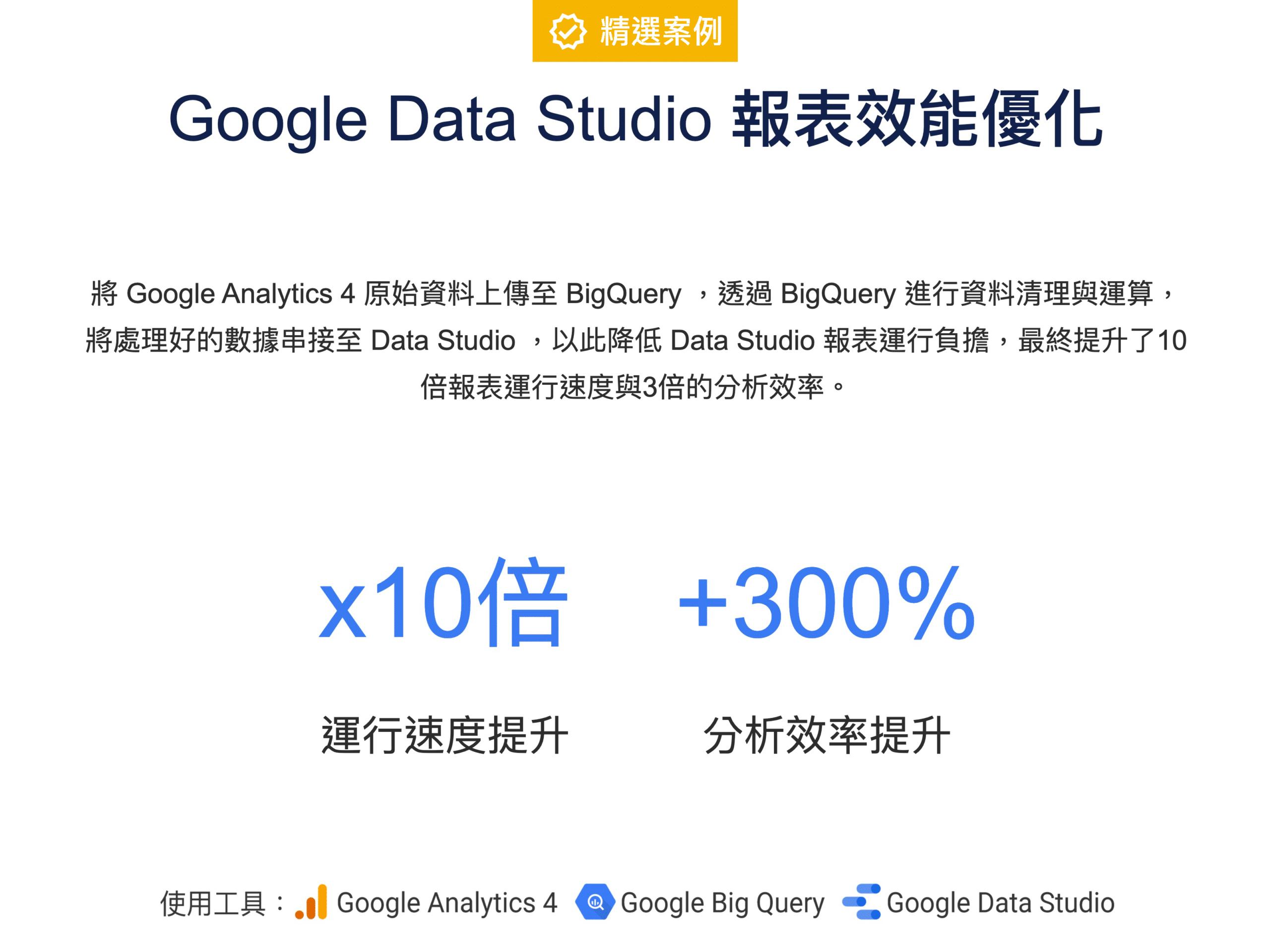 【精選案例】 Data Studio 報表速度 優化 ,報表效能提升 10 倍